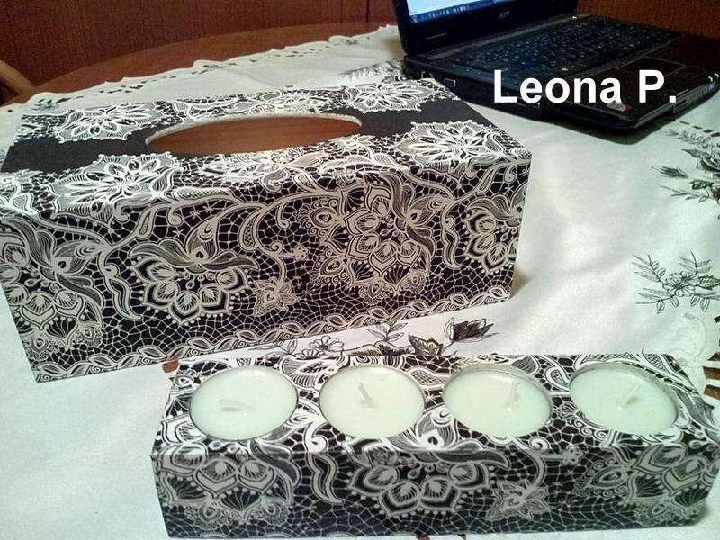 Dekupáž ryžovým papierom a servítkou - Leona